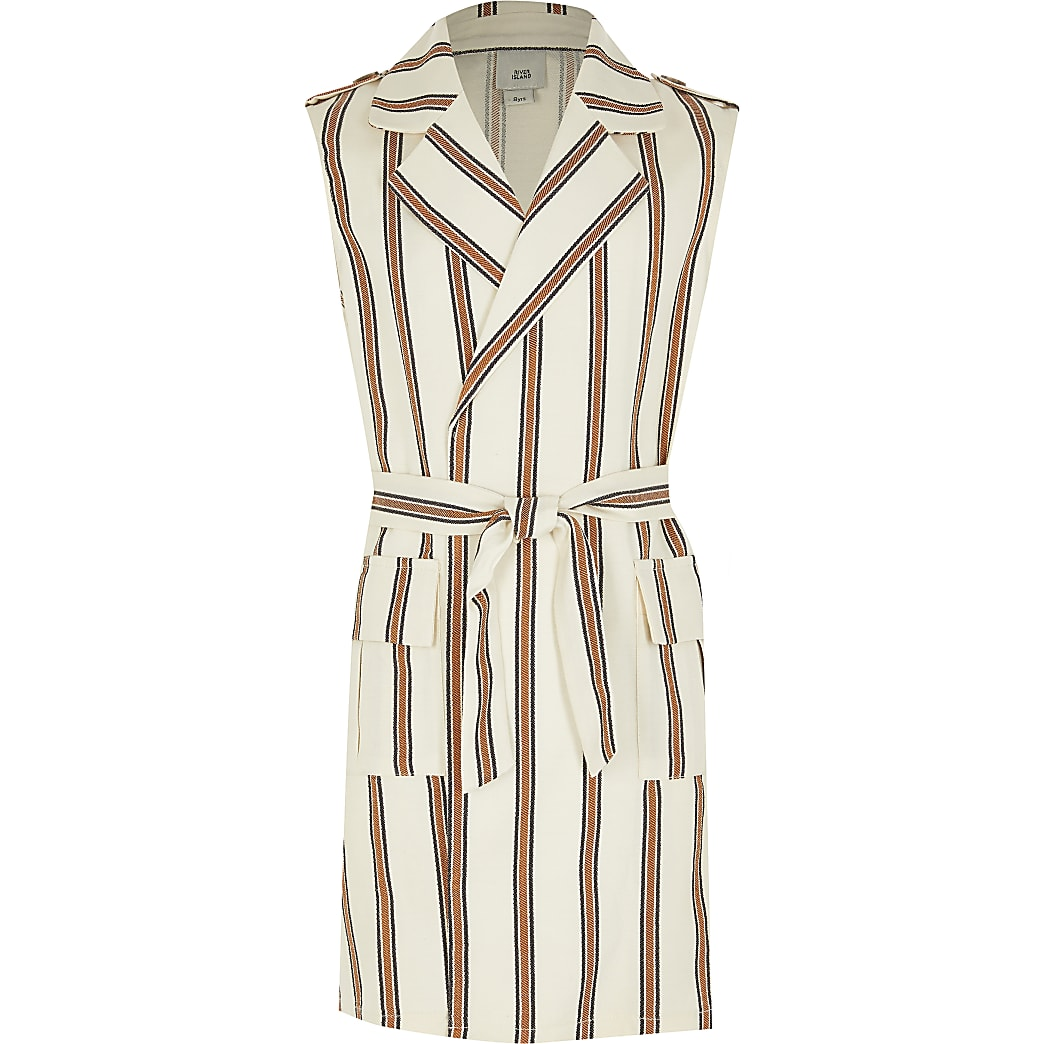 Girls cream stripe sleeveless belted trench
