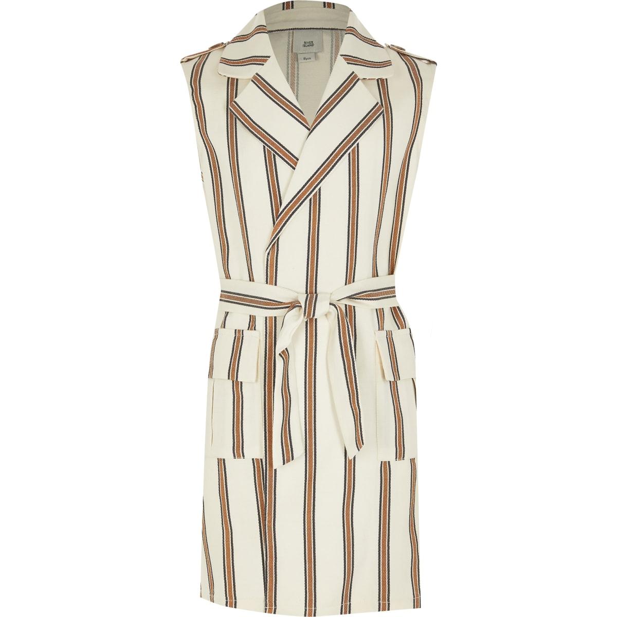 Girls cream stripe sleeveless belted trench