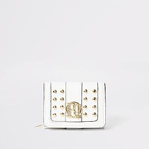 Crèmekleurige uitvouwbare portemonnee met studs en RI-embleem voor meisjes