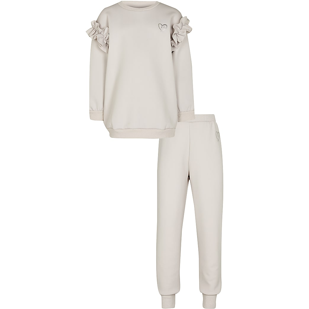 Girls cream sweatshirt and jogger outfit