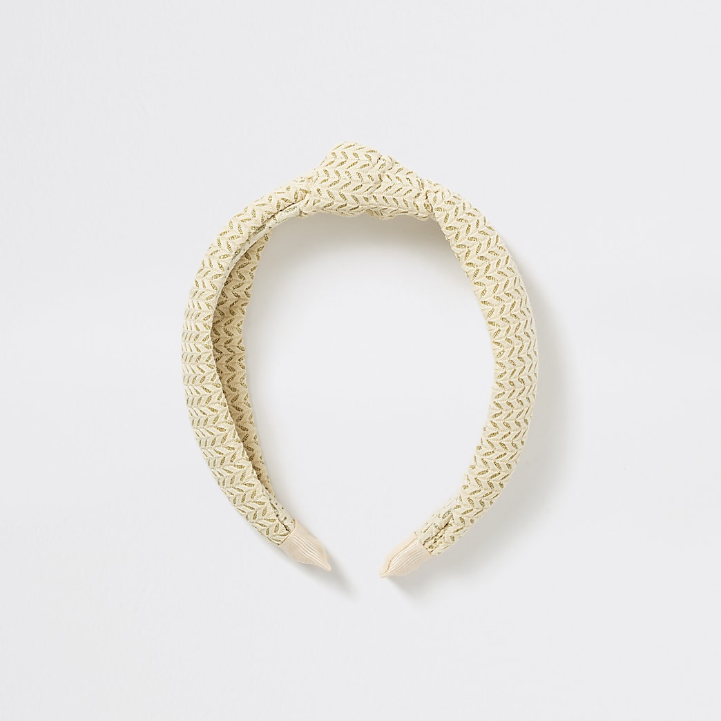 Girls cream textured knot headband