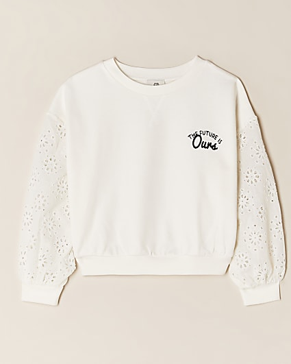 Girls cream 'The future is ours' sweatshirt