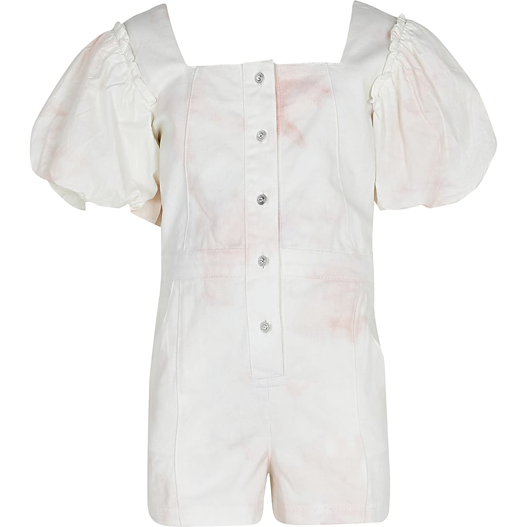 Girls cream tie dye  denim playsuit
