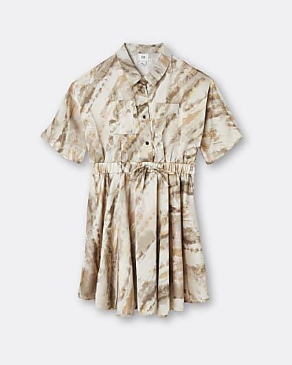 Girls cream tie dye shirt dress
