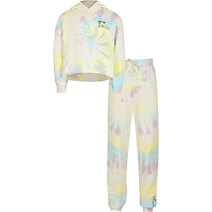 Girls cream tie dye tracksuit