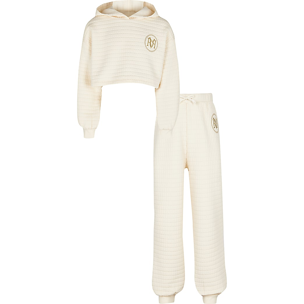 Girls cream waffle hoodie and joggers outfit