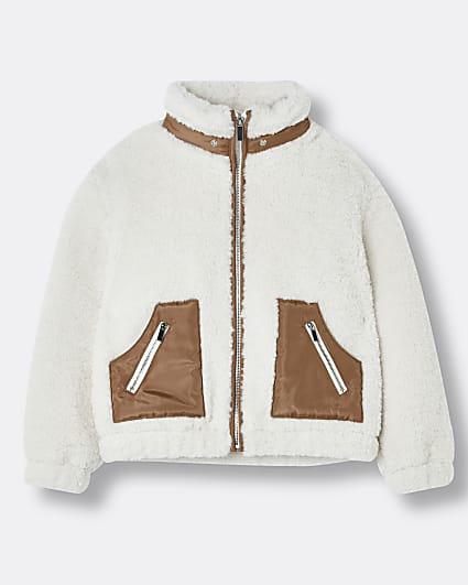 Girls cream zip funnel borg jacket