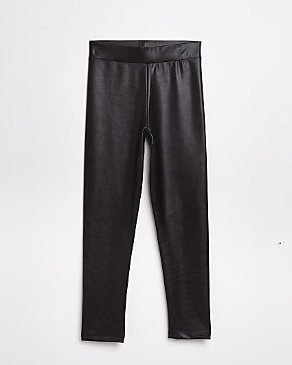 Girls dark brown disco leggings