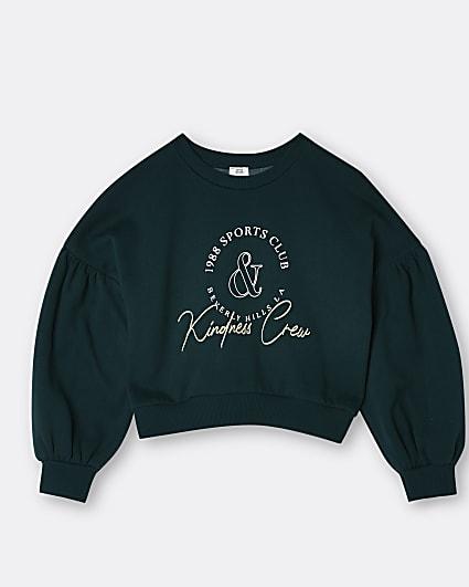 Girls dark green 'Kindness' sweatshirt