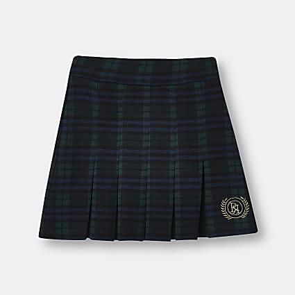 Girls dark green RI pleated check skirt