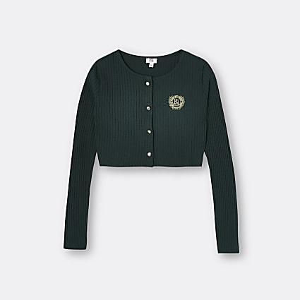Girls dark green RI ribbed cardigan
