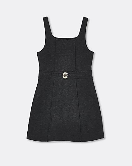 Girls dark grey ponte pinafore dress