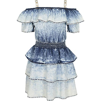 Girls denim acid wash denim frill dress