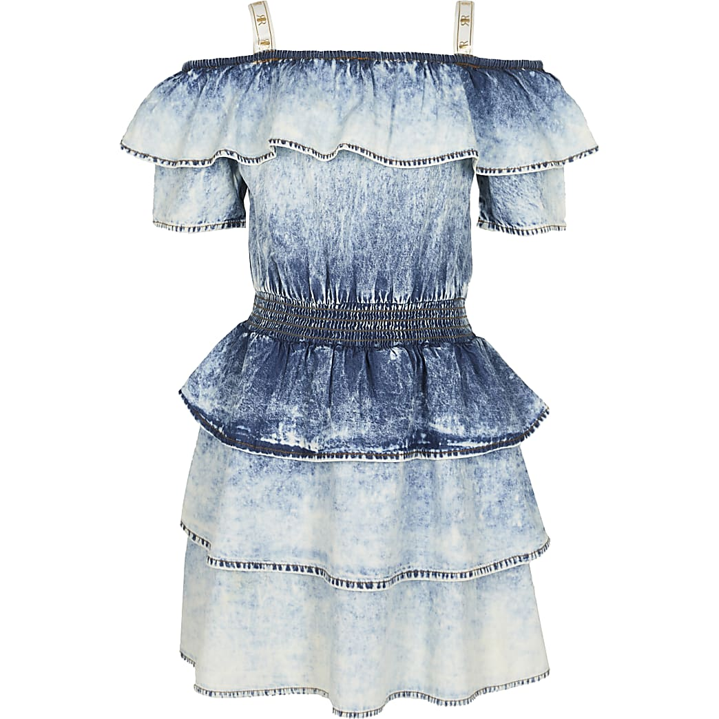 Girls denim acid wash denim frill dress