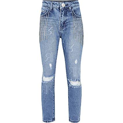 Girls denim bling tassel mom jeans