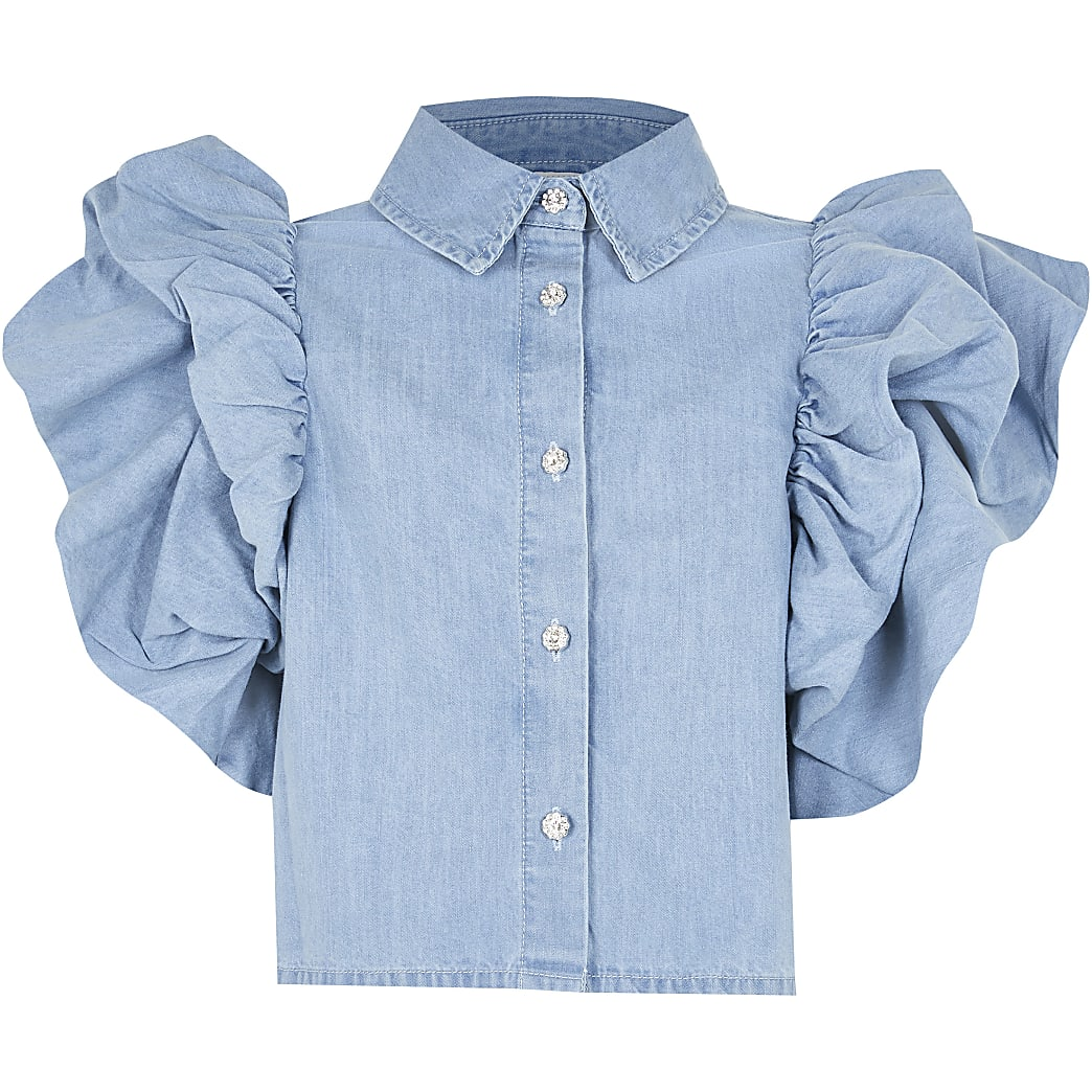 Girls denim flutter sleeve shirt