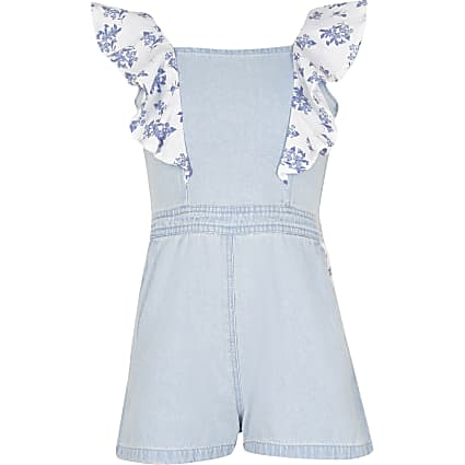 Girls denim frill playsuit