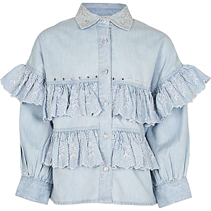 Girls denim frill shirt