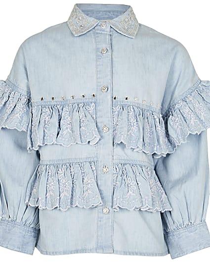 Girls denim frill shirt