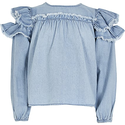 Girls denim frill sleeve blouse