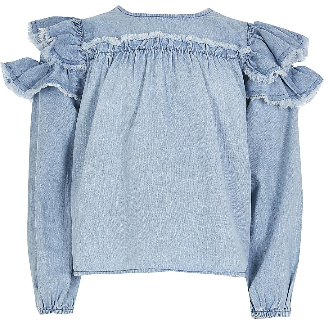 Girls denim frill sleeve blouse