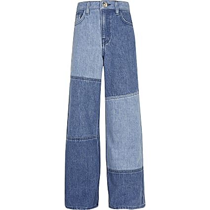 Girls denim patch wide leg jeans