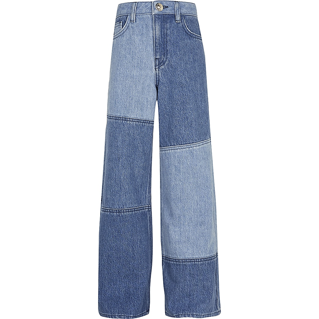 Girls denim patch wide leg jeans