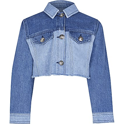 Girls denim patchwork denim jacket