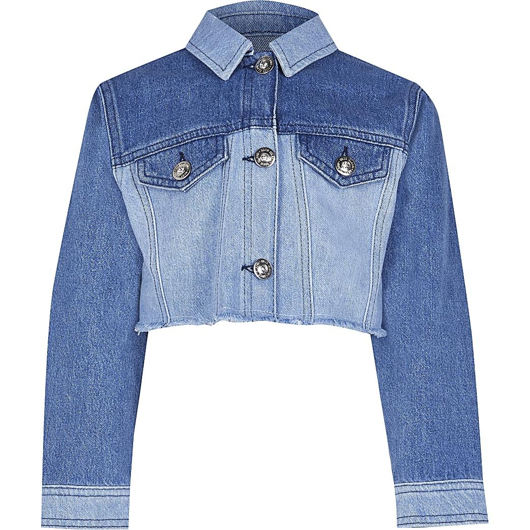 Girls denim patchwork denim jacket
