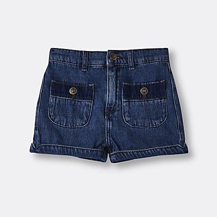 Girls denim pocket mom short