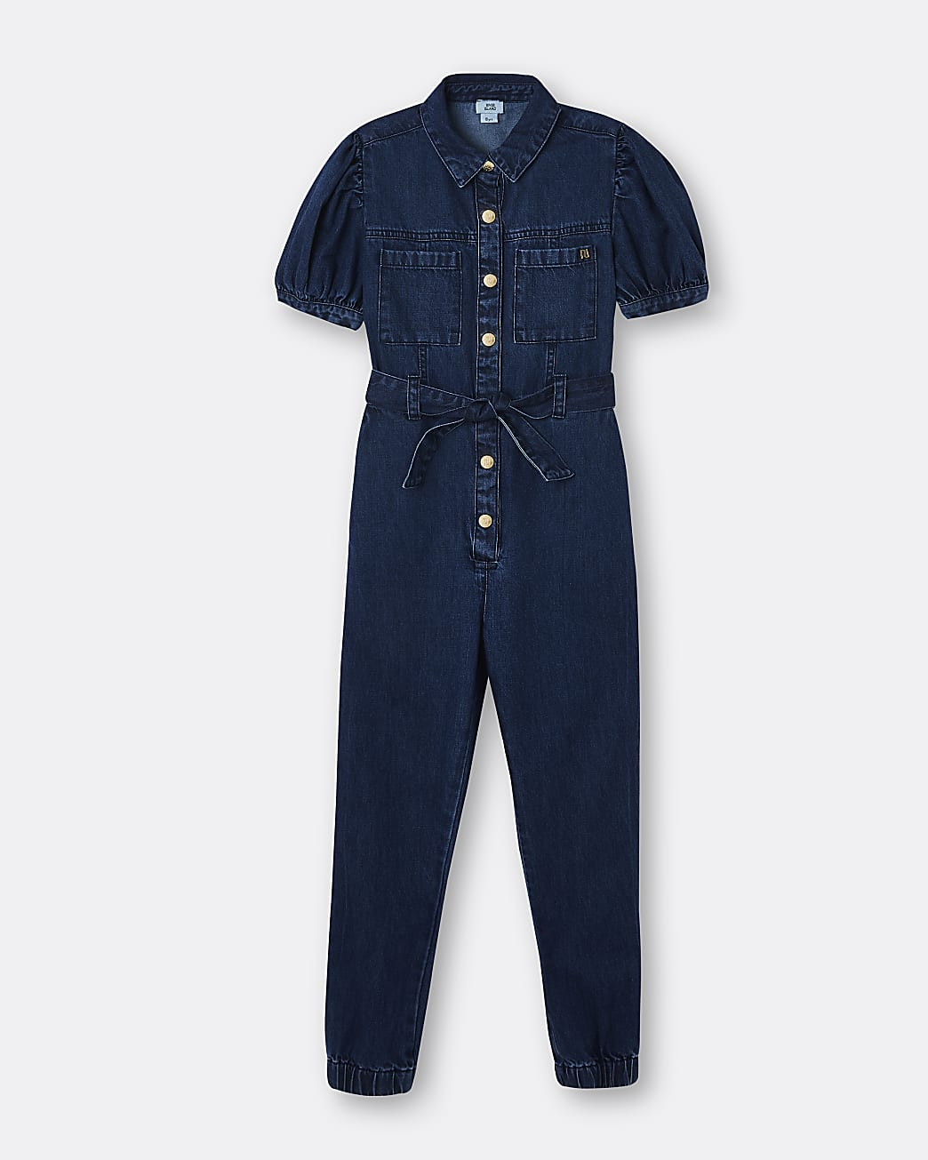 Girls denim puff sleeve boiler suit