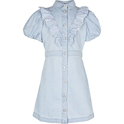 Girls denim puff sleeve shirt dress