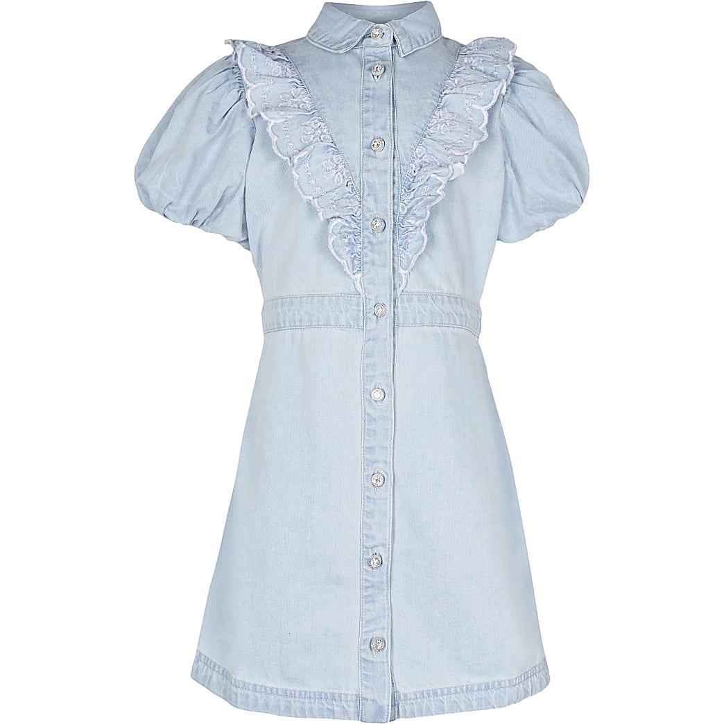 Girls denim puff sleeve shirt dress