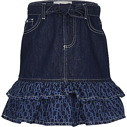 Girls denim RI monogram frill skirt