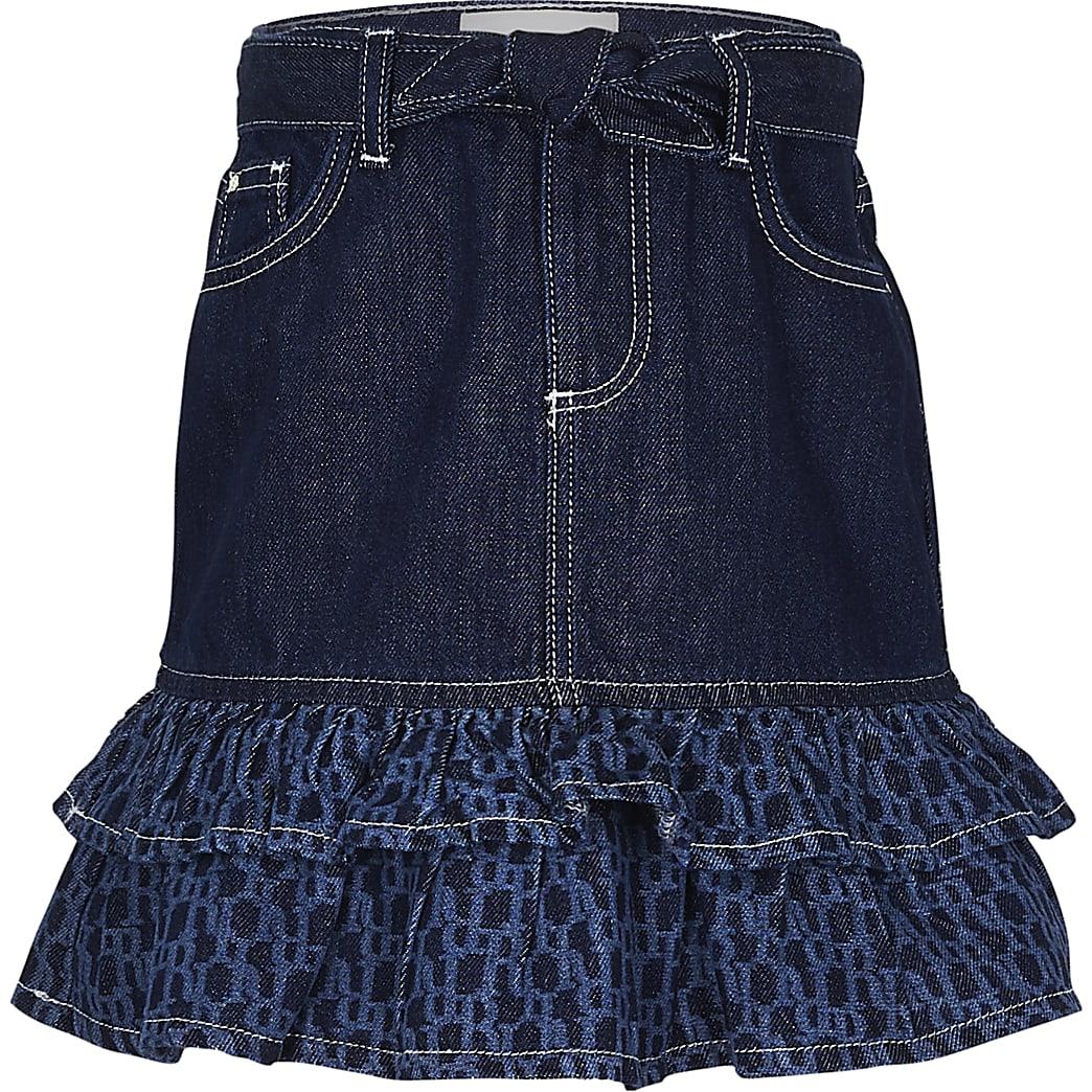 Girls denim RI monogram frill skirt