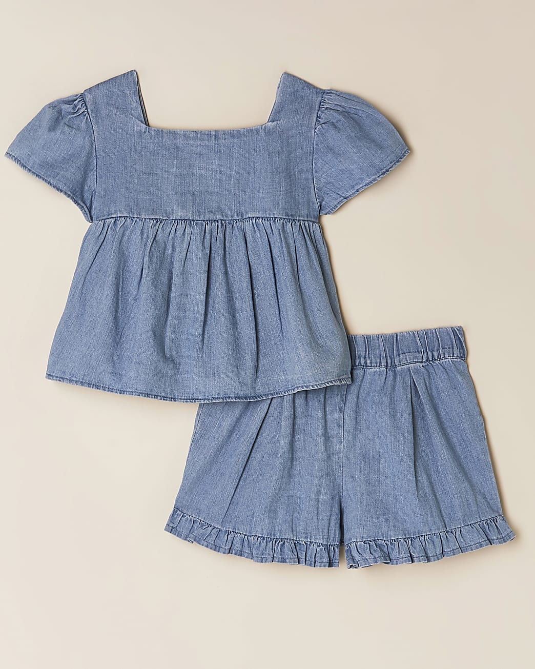 Girls denim top and shorts outfit