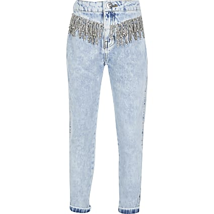 Girls diamante tassel high rise mom jean