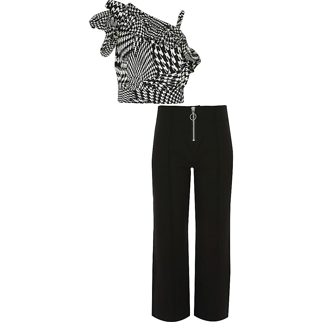 Outfit met crop top met pied-de-poule-motief voor meisjes
