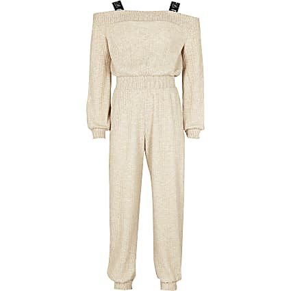 Girls ecru bardot neck jumpsuit