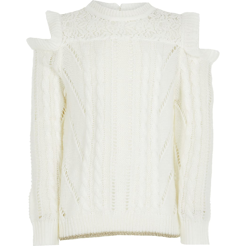 Girls ecru cold shoulder slouch jumper