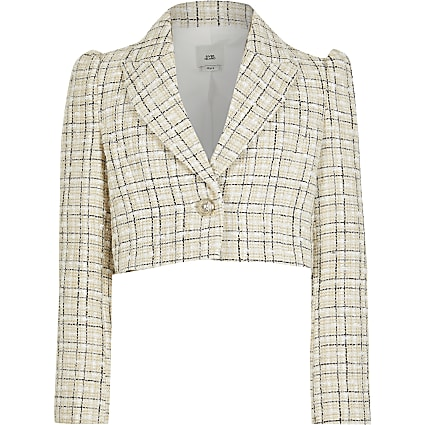 Girls ecru cropped boucle blazer