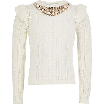 Girls ecru embellished neck knitted jumper