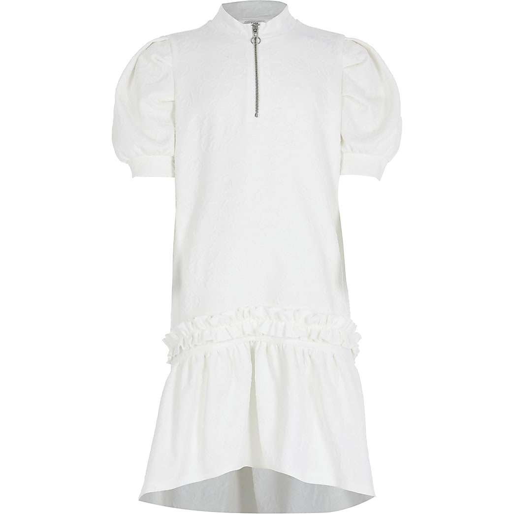 Girls ecru frill jacquard peplum dress