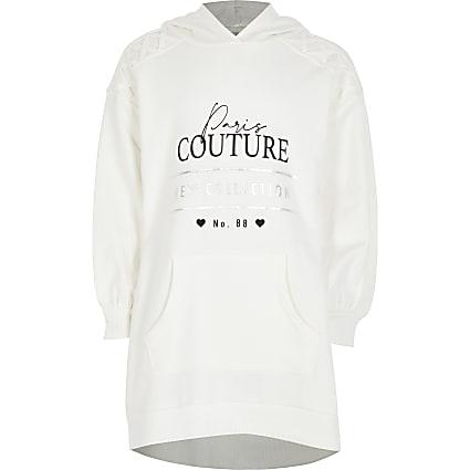 Girls ecru hoodie dress