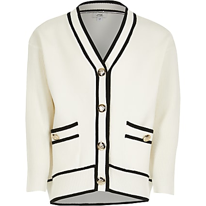 Girls ecru longline button cardigan