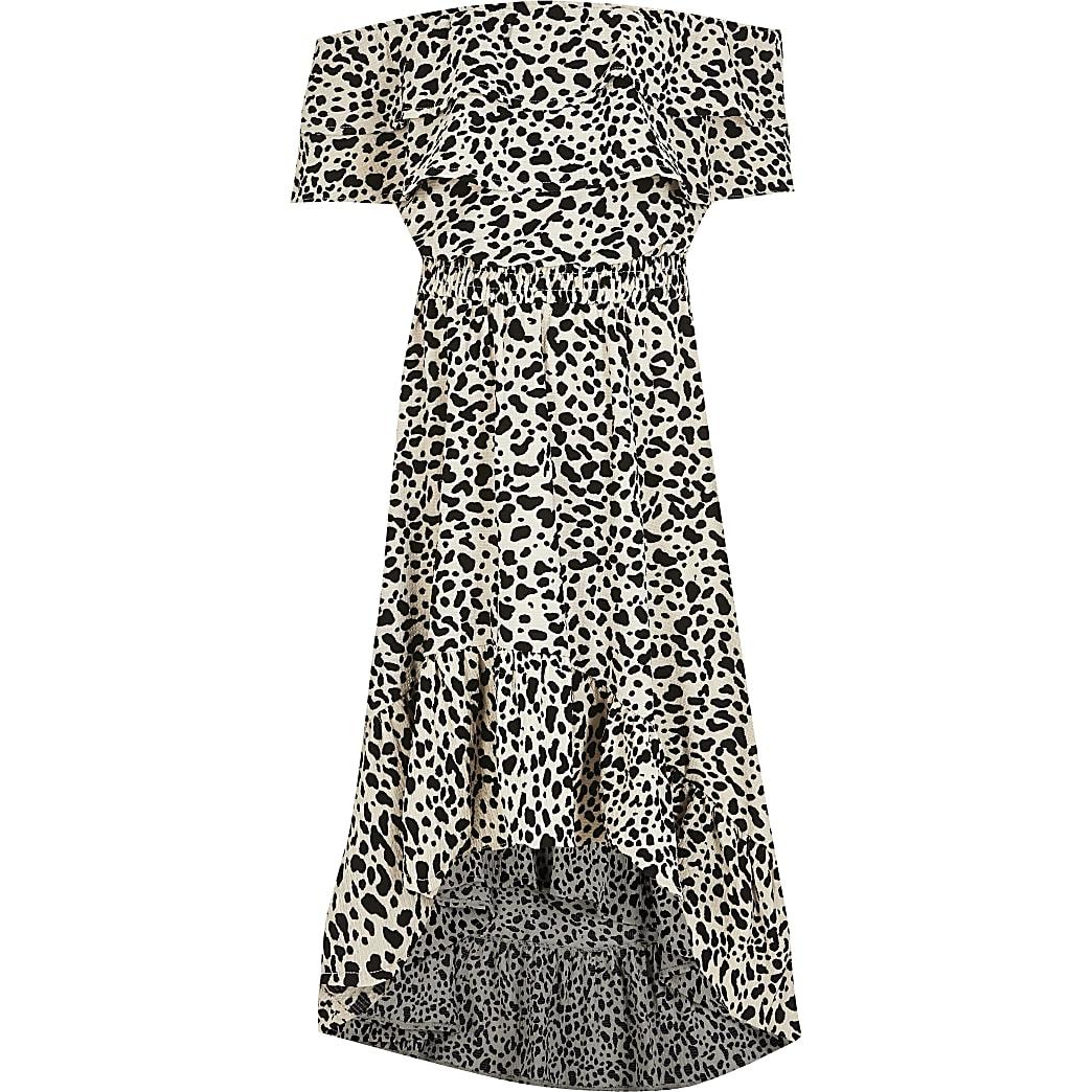 Ecru maxi-jurk met print en bardothalslijn met franje voor meisjes