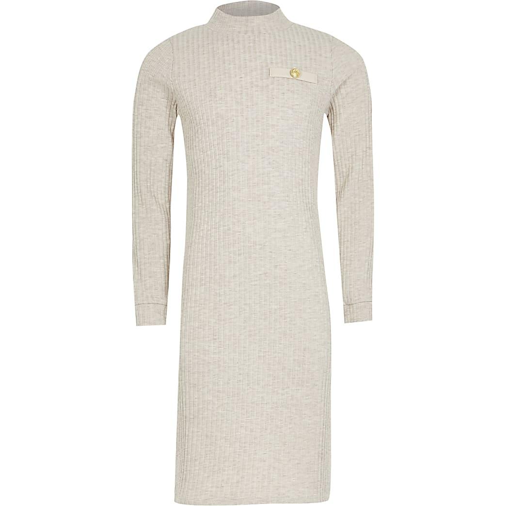 Girls ecru rib pu pocket column dress