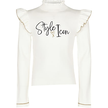Girls ecru 'style icon' frill knitted top