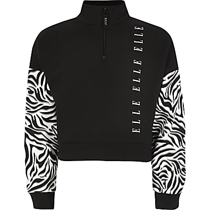 Girls ELLE black printed half zip sweatshirt