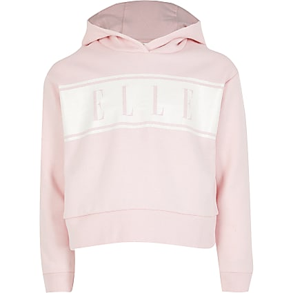 Girls ELLE pink glitter logo hoodie